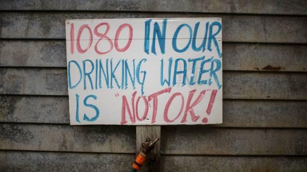 A sign outside a 1080 activist's home in the bush, near Hari Hari on the South Island's West Coast.