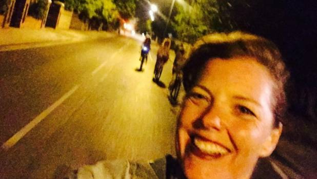 Carmen Greenway took this selfie while cycling home - moments before she lost control and crashed.