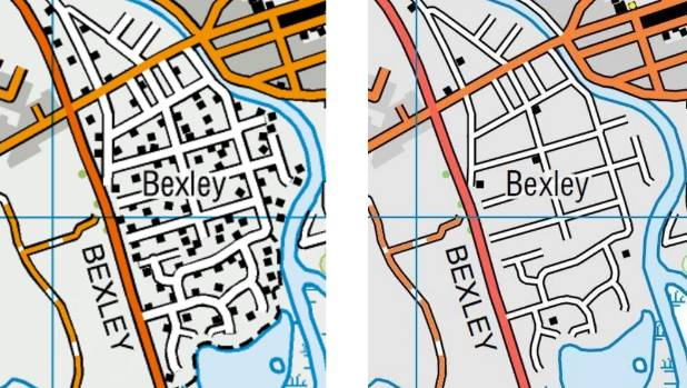 Bexley in 2014 and 2016. Each black box represents a building. There are now eight homes in the suburb.