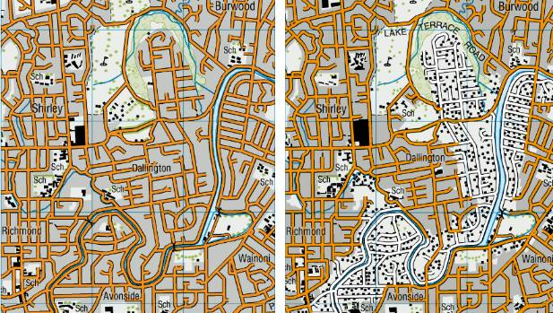The Avon Loop in 2010 and 2014. Grey shade represents a residential area. Roads filled with orange are open, roads ...