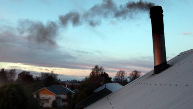 Dark smoke rises from a chimney in Timaru.