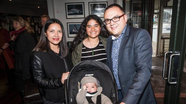 Former Porirua Mayor Nick Leggett with his wife Emily, step-daughter Madi Masaga-Pita and son Tane shortly after Leggett ...