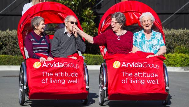 Park Lane residents took trips in 'trishaw' bicycles on Monday as part of Arvida's plan to roll them out across the country.