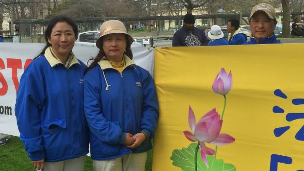 Falun Gong's Daisy Lee and Angela Huang in The Square as part of the SOS Car Tour raising awareness of organ harvesting ...
