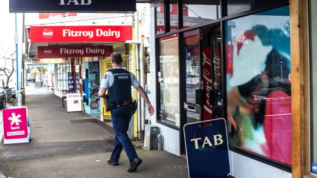 Armed police swarmed to the TAB in Fitzroy, New Plymouth   on October 12 last year after reports of an armed robbery.