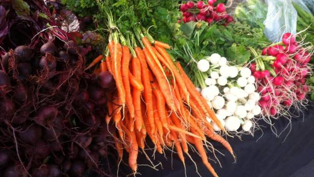 Fresh veges on sale in the heart of the city at Britomart market.