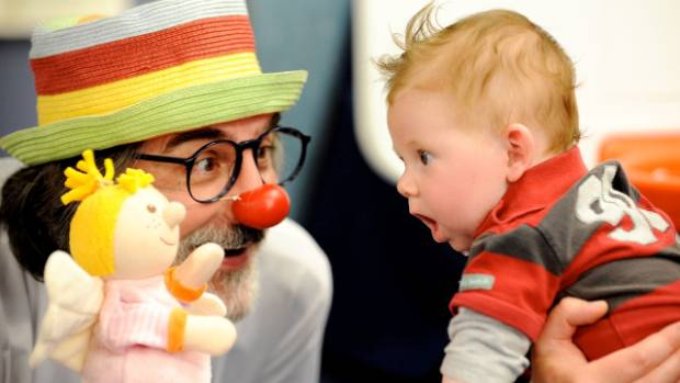 Thomas Petschner, founder of Clown Doctors New Zealand, doing what he does best.