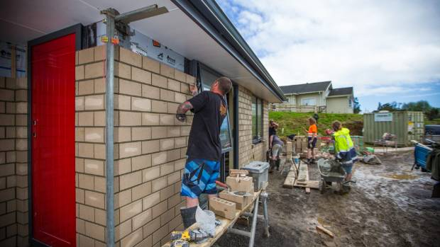 Crews from three Taranaki concrete companies put 4000 bricks in place at the Taranaki Retreat.