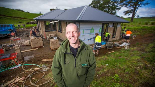 Jamie Allen was overwhelmed to watch as 4000 bricks were laid at the Taranaki Retreat on Friday.