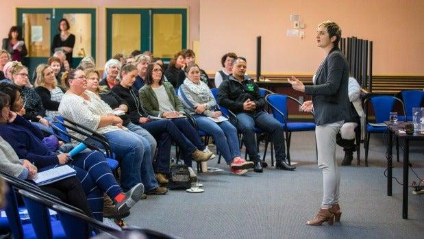 Te Runanga o Ngai Tahu general manager Hana O'Regan speaks to teachers in Timaru about being positive with Maori and ...
