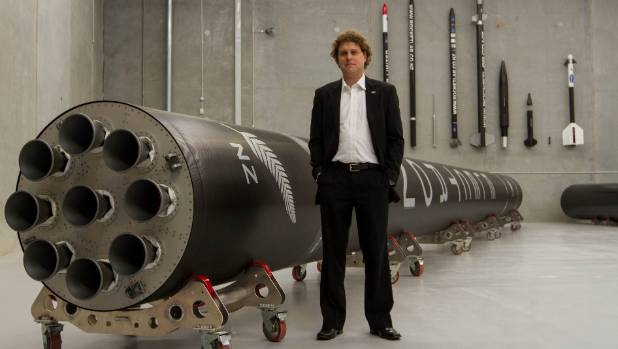 Rocket Lab chief executive Peter Beck with the company's Electron rocket which will be transported from its Auckland ...