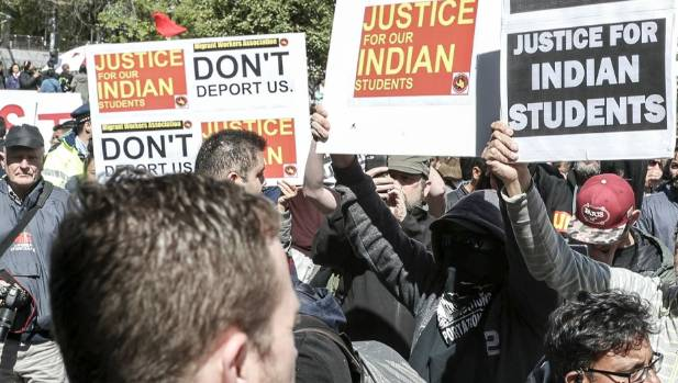 Protests by Indian students facing deportation at Diwali celebrations in Auckland last weekend stem from exploitation by ...