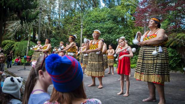 The Patea Maori Club performing Poi E on the Hatchery Lawn in Pukekura Park in New Plymouth for the Step Up video.