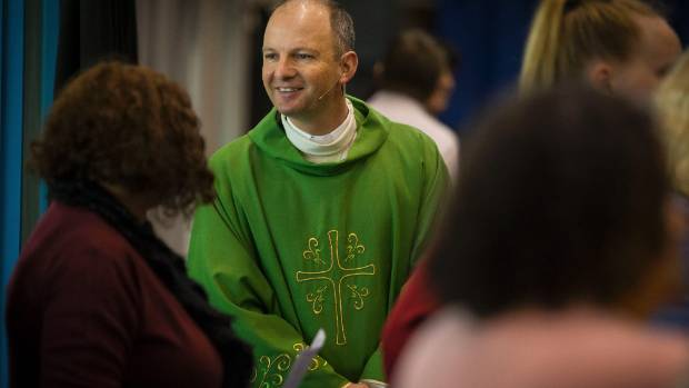 Father Simon Story, of the Catholic Parish of New Plymouth, at a special mass on Sunday to mark the first anniversary of ...