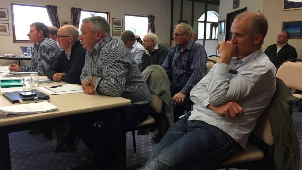 Farmers at the hearing for the proposed irrigation expansion, from left, Henry Williamson, Bill Sutherland, Dave Ellis, ...