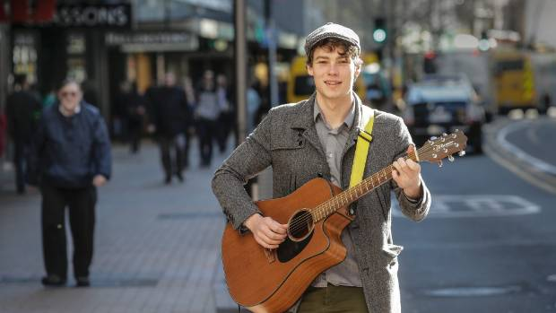 Busker Daniel White can often be seen on Wellington's Lambton Quay.