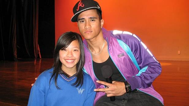 J. Williams with Waitakere College student Jenny Be.