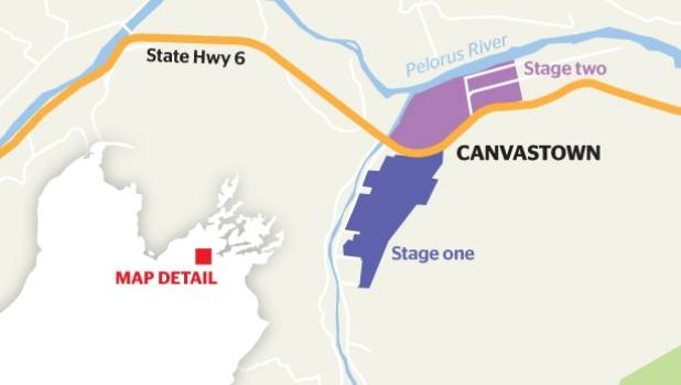 A map showing the location of the proposed gold mining operation in Canvastown, Marlborough.