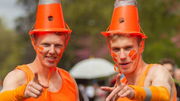 Canterbury University students dress as road cones at the annual UCSA Tea Party last week.