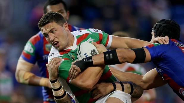 Sam Burgess of the Rabbitohs during the round 25 NRL match against the Newcastle Knights in August 2016.