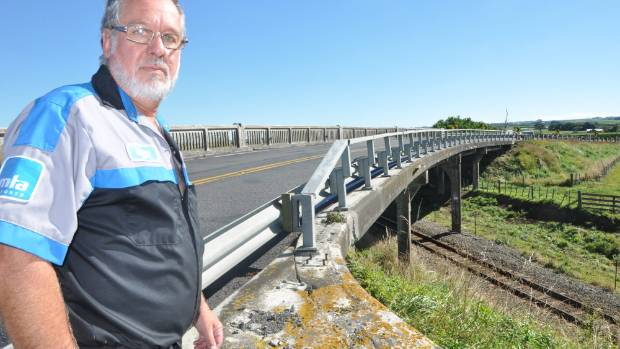 Andy Beccard at the Normanby overpass. He fought for 20 years to see the closed to traffic.