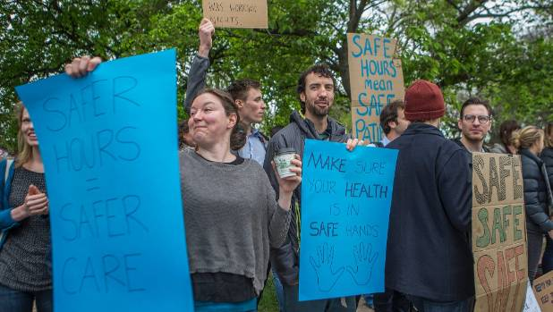 Junior doctors strike against long working weeks at Christchurch Hospital.