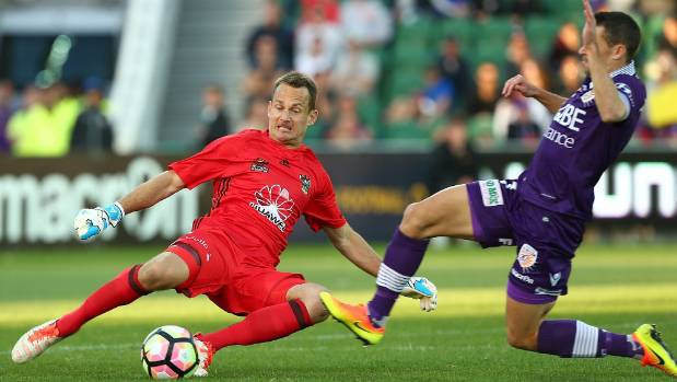 Perth Glory's Joel Chianese's tackle on Wellington Phoenix goalkeeper Glen Moss has left the latter with a nasty shin injury.