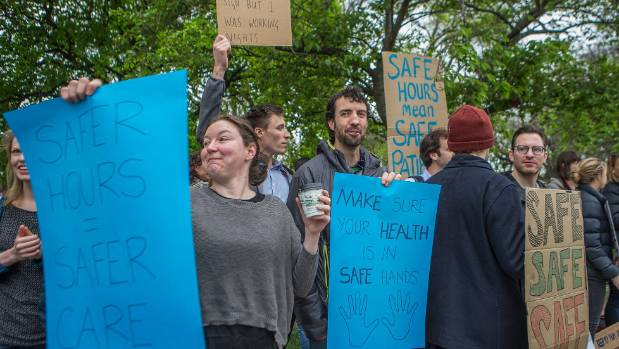 Junior doctors protest at Christchurch Hospital during strike action.