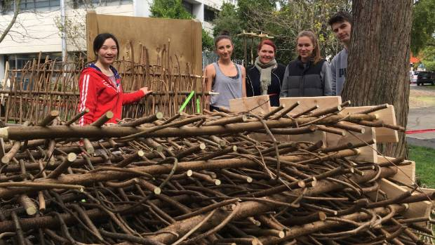 Local hazel wood panels woven by Ara students to be used for a temporary architectural installation at the headline ...