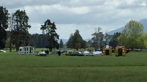 Emergency services at the scene of a plane crash near Matamata.