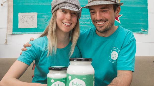 L-R Tesh Randall and Seb Walter, owners of Raglan Coconut Yoghurt are delighted with how popular their product has become.