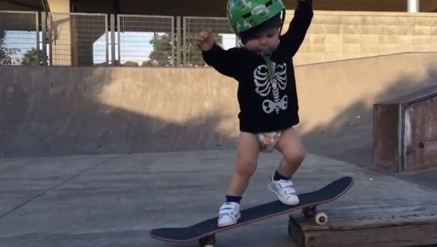 Watch 22 Month Old Wyatt The Skating Toddler Is