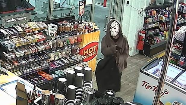 They wore an assortment of disguises, including an ice-hockey mask and a clown mask.