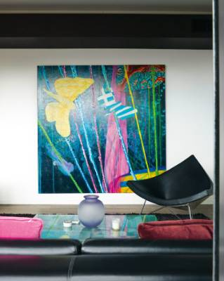 The acrylic and oil painting by New Zealand artist Jimmy James Kouratoras features pohutukawa and puriri moths; the ...