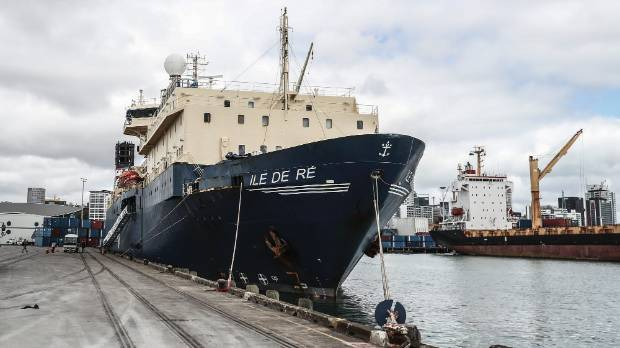 The Ile de Re ship is docked in Auckland for one day before it heads out into the Tasman Sea to finish the building of ...