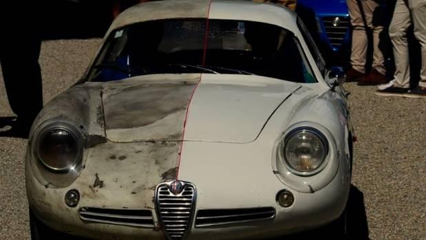 The ''half-and-half' restored 1961 Alfa Romeo Giuletta SZ.