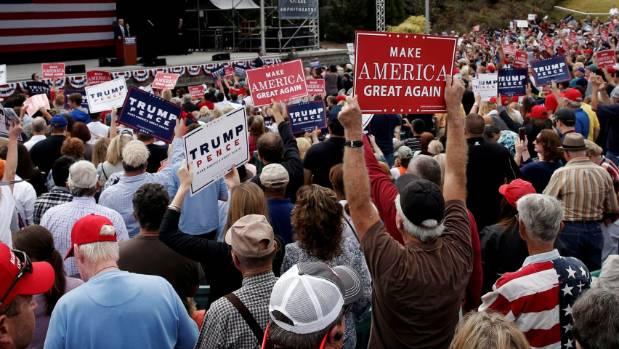 Donald Trump speaks at a campaign rally in Greensboro, North Carolina.