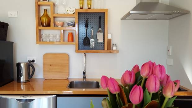 Kauri Tree Retreat's kitchen is compact but contemporary and well-appointed.