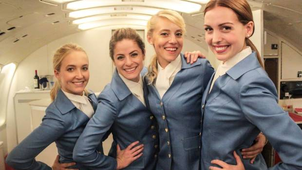 The youthful stewardesses are recruited from the ranks of local actors via a Hollywood casting call.