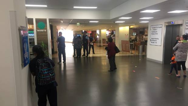 The scene of the stabbing at Auckland City Hospital on Tuesday afternoon.