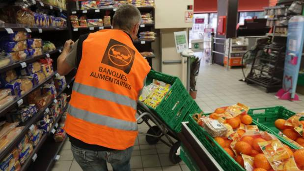 Food goods donated by a supermarket to charity organisations in l'Hay-les-Roses, France. France is cracking down on food ...
