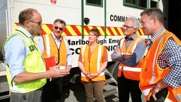 Marlborough District Council emergency services manager Brian Paton, left, with councillors, from left, Mark Peters, ...