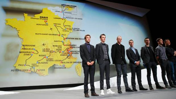 Riders (from left) Thibaut Pinot of France, Romain Bardet of France, Chris Froome of Britain, Richie Porte of Australia, ...
