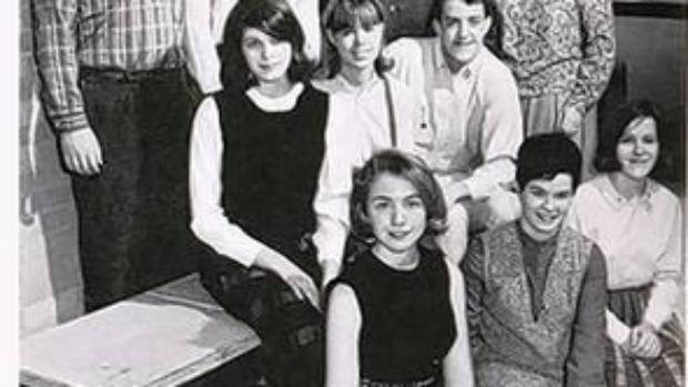 Hillary Clinton, front left, was active in politics in high school.