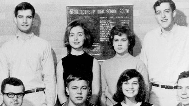 Hillary Rodham, second from left in the back row, poses with her debate team in 1965 at Maine South High School in Park ...