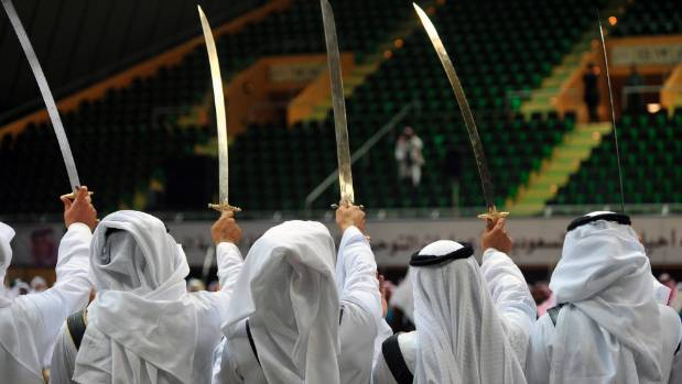 Most people executed in Saudi Arabia are beheaded with a sword.