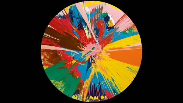 Damien Hirst, Beautiful, shattering, slashing, violent, pinky, hacking, sphincter painting,1995. $400,000 - $600,000