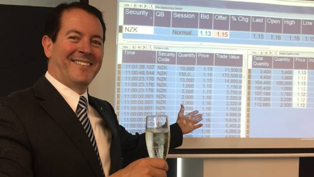 New Zealand King Salmon chief executive Grant Rosewarne celebrates following the company's debut on the NZX.