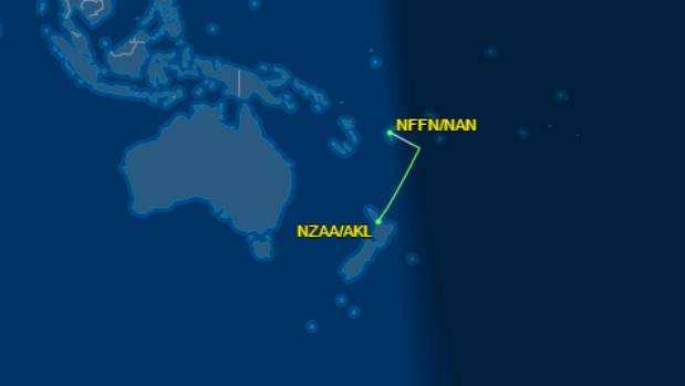 The flight diverted to Fiji's Nadi International Airport for refuelling before returning to Auckland.
