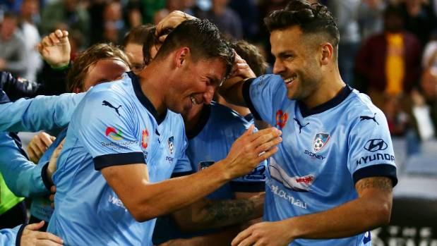 Sydney FC's Filip Holosko (centre) and Bobo (right) have been on fire in front of goal to start the season.